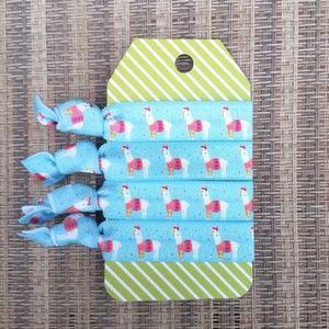 Accessories - Set of 4 Llama Sweater Blue Pink Elastic Hair Ties